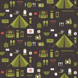 Seamless pattern of flat colorful vector camping Royalty Free Stock Photography