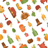 Seamless pattern with flat geometric icons for Thanksgiving day. Traditional Thanksgiving symbols and things. Elements for postcard or invitation, wrapping Royalty Free Stock Images