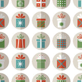 Seamless pattern of flat gift packages, Christmas gifts Stock Photography
