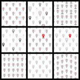 Seamless pattern of flat icons location. Vector. Set Stock Photography