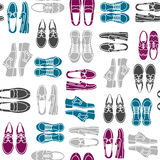 Seamless pattern with flat icons of mens shoes Royalty Free Stock Image