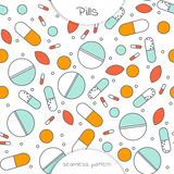 Seamless pattern of flat line icon of different pills. Seamless pattern of flat line icon  of different pills. The pattern  on the medical theme. Vector Royalty Free Stock Photo