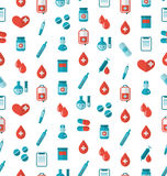 Seamless Pattern with Flat Medical Icons, Repeating Backdrop Royalty Free Stock Photography