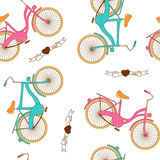 Seamless pattern with flat retro bicycle for boy and girl Royalty Free Stock Photo