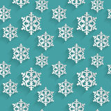Seamless pattern with flat snowflakes. Vector background. Stock Photography