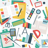 Seamless pattern in flat style, desk of the student with books, notebooks and stationery Royalty Free Stock Images