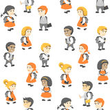 Seamless Pattern in Flat Style, Group of Happy Students. Royalty Free Stock Images
