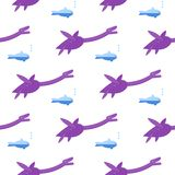 Seamless pattern with flat style icon of Plesiosauria. Background with dinosaur for different design. Loch nessie. stock illustration