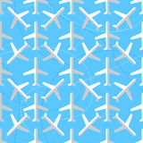 Seamless pattern with flat styled planes Stock Photo