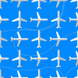 Seamless pattern with flat styled planes Royalty Free Stock Photos