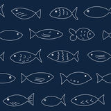 Seamless pattern with floating fish. A flock of swimming fish.  Seamless pattern. Hand drawn design Stock Photo
