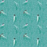 Pattern with floating in a transparent beautiful river of girls. Seamless pattern with floating in a transparent beautiful river of girls, young girls with long Stock Images