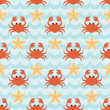 Seamless pattern with flock of cute cartoon crabs and starfishes. On blue wave background. For cards, invitations, albums, wallpapers, backgrounds and Royalty Free Stock Photo