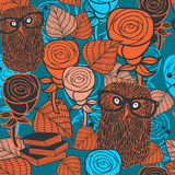 Seamless pattern with flora and fauna. Vector illustration of forest owl in glasses and autumn leaves. Repeating background in orange and blue colors Stock Image