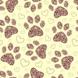 Seamless pattern with floral animal paw print Stock Photos