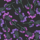 A seamless pattern with a floral autumn ornament of the watercolor violet and purple berries on the branches Royalty Free Stock Photography