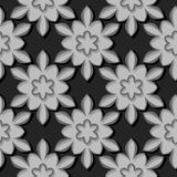 Seamless pattern. Floral black and gray 3d background. Vector illustration Stock Photography