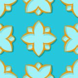 Seamless pattern. Floral blue and orange 3d background. Vector illustration Royalty Free Stock Photos