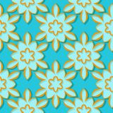 Seamless pattern. Floral blue and orange 3d background. Vector illustration Stock Photos