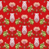 Seamless pattern floral bouquet in vase Royalty Free Stock Photo