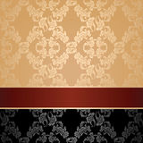 Seamless pattern, floral decorative background, maroon ribbon Stock Photos