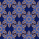 Seamless pattern. Floral deep blue and orange 3d background. Vector illustration Royalty Free Stock Photos