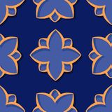 Seamless pattern. Floral deep blue and orange 3d background. Vector illustration Stock Images
