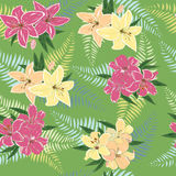 Seamless pattern with floral design. Background with decorative pink and yellow lilies vector illustration
