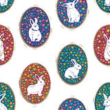 Seamless pattern with floral easter eggs and bunny silhouette. Vector illustration of Easter background. Cute rabbit silhouette in floral eggs stock illustration
