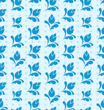 Seamless Pattern with Floral Elements, Blue Background Royalty Free Stock Photos