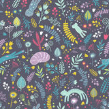 Seamless pattern with floral elements    and cartoon cats. Royalty Free Stock Image