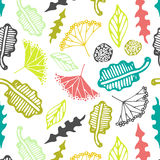 Seamless pattern with floral elements and leaves.  Vector abstract background. Eps 10 Royalty Free Stock Photo