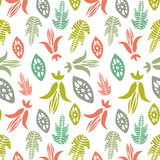 Seamless pattern with floral elements and leaves.  Vector abstract background. Stock Images