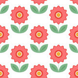 Seamless pattern with floral elements. Red flowers with leafs. Royalty Free Stock Image