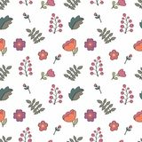 Seamless pattern with floral elements. Stylized flowers. Seamless background for your design Royalty Free Stock Photos
