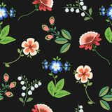 Seamless pattern floral embroidery black stock illustration
