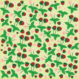 Seamless pattern floral flower strawberries berries garden background stock illustration