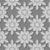 Seamless pattern. Floral gray 3d background. Vector illustration Stock Photos