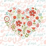 Seamless pattern with  floral heart Stock Photos