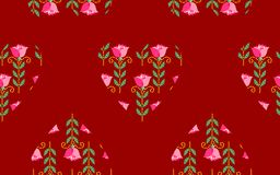 Seamless pattern with floral hearts. Royalty Free Stock Images