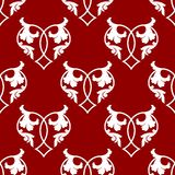 Seamless pattern of floral hearts stock photos
