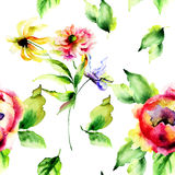 Seamless pattern with floral illustration Stock Photos