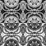 Seamless pattern - floral lace ornament. White and black background Stock Image