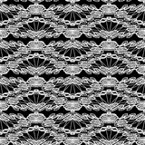 Seamless pattern - floral lace ornament - white and black  Stock Photo