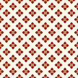Seamless pattern with floral motif. Minimalist geometric print with flowers. Checked abstract background. Royalty Free Stock Photo
