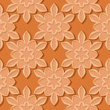Seamless pattern. Floral orange 3d background. Vector illustration Royalty Free Stock Photos