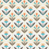 Seamless Pattern with floral ornament. Hand-drawn seamless pattern with leaves and flowers stock illustration