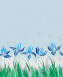 Seamless pattern with floral ornament, irises in a grunge style on white background. Stock Photo