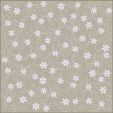 Seamless pattern with floral ornament. Light pink flowers of the clove pink, light grey abstract leaves on gray-brown background. Hand-drawn, vector. Texture Stock Image
