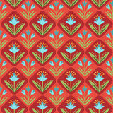 Seamless Pattern with floral ornament on red. Hand-drawn seamless pattern with leaves and flowers Royalty Free Stock Images